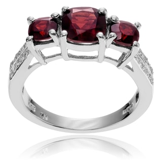 Journee Collection Sterling Silver Garnet Topaz 3-stone Ring