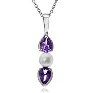 Journee Collection Sterling Silver Pearl Amethyst Pendant|https://ak1.ostkcdn.com/images/products/10376228/P17482122.jpg?impolicy=medium