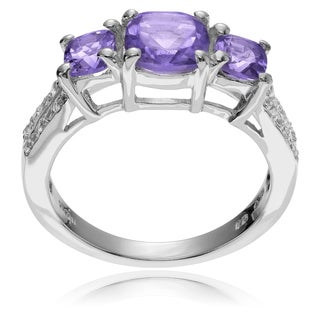 Journee Collection Sterling Silver Gemstone 3-stone Ring