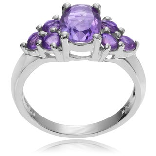 Journee Collection Sterling Silver Amethyst Cluster Ring