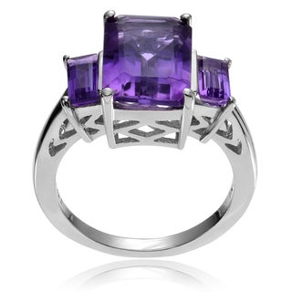 Journee Collection Sterling Silver Amethyst 3-stone Ring
