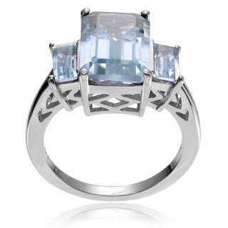 Journee Collection Sterling Silver Blue Topaz 3-stone Ring