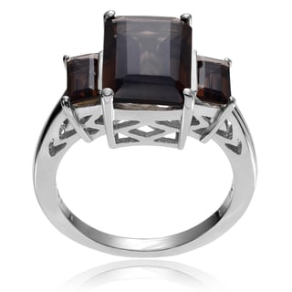 Journee Collection Sterling Silver Smoky Topaz 3-stone Ring