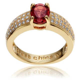 Journee Collection 14k Goldplated Metal Oval Garnet CZ Accent Ring