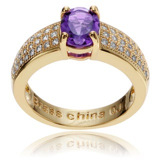 Journee Collection 14k Goldplated Metal Oval Amethyst CZ Accent Ring