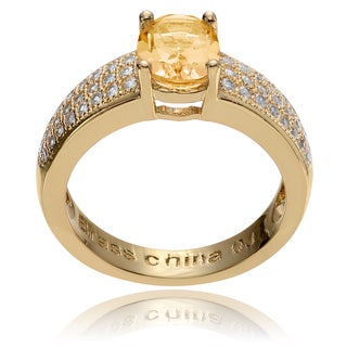 Journee Collection 14k Goldplated Metal Oval Citrine CZ Accent Ring