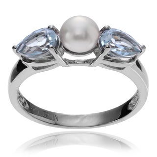 Journee Collection Sterling Silver Pearl Topaz Accent Ring