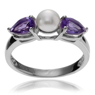 Journee Collection Sterling Silver Pearl Amethyst Accent Ring