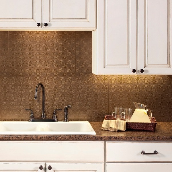 fasade lotus argent bronze 18 in x 24 in backsplash panel free