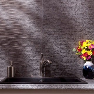 Fasade Ripple Galvanized Steel 18 in. x 24 in. Backsplash Panel