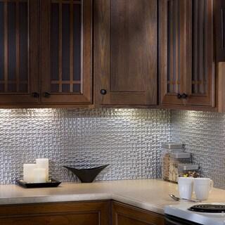 Fasade Terrain Argent Silver 18 In X 24 In Backsplash Panel