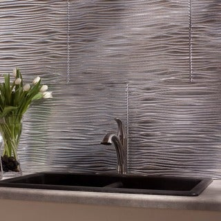 Fasade Waves Brushed Aluminum 18 in. x 24 in. Backsplash Panel