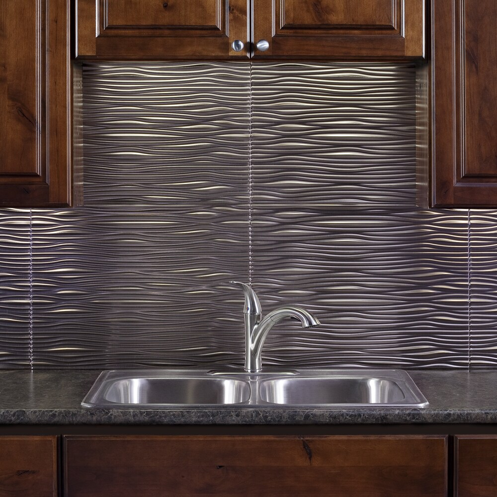 - Shop Fasade Waves Brushed Nickel 18 In. X 24 In. Backsplash Panel