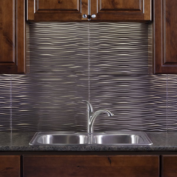 fasade waves brushed nickel 18 in x 24 in backsplash