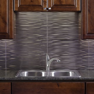Fasade Waves Brushed Nickel 18 in. x 24 in. Backsplash Panel