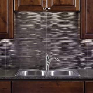 Fasade Waves Brushed Nickel 18 In X 24 Backsplash Panel