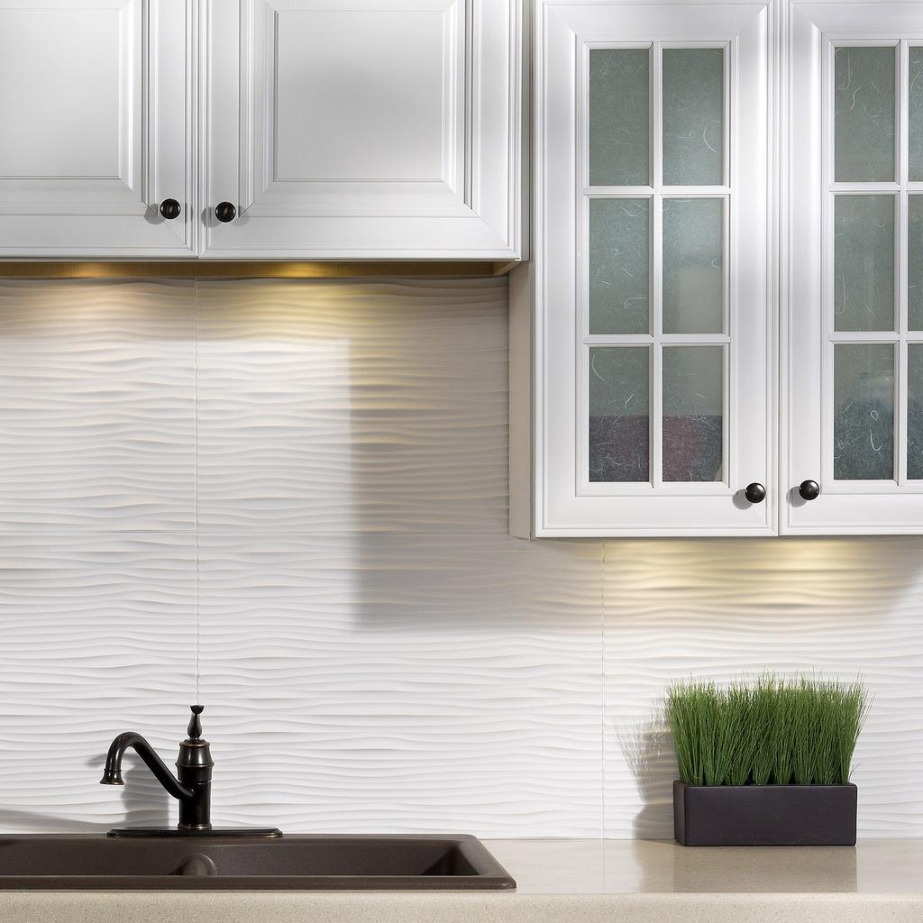 - Shop Fasade Waves Matte White 18 In. X 24 In. Backsplash Panel