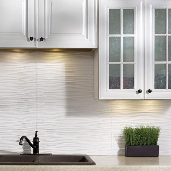 White Backsplash Tiles: Shop Fasade Waves Matte White 18 In. X 24 In. Backsplash