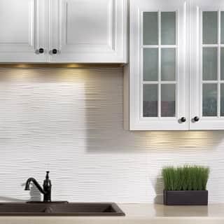 Fasade Waves Matte White 18 In X 24 Backsplash Panel