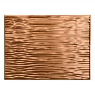 Fasade Waves Polished Copper 18 in. x 24 in. Backsplash Panel