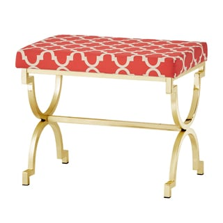 Kenza Moroccan Print Pattern Gold Plated Stool by INSPIRE Q
