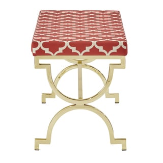 Kenza Moroccan Print Pattern Gold Plated Bench by INSPIRE Q