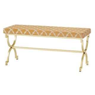 Kenza Moroccan Print Pattern Gold Finish Bench