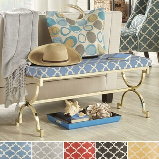 Kenza Moroccan Print Pattern Gold Finish Bench