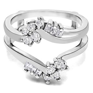 TwoBirch Platinum 1/2 ct TDW Round and Baguette Diamond Bypass Style Ring Guard