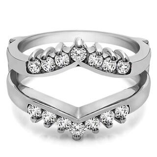 14k Gold 2/5ct TDW Round Diamond Chevron Style Ring Guard (G-H, SI2-I1)