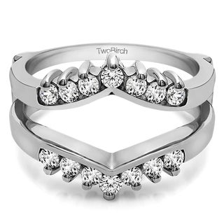 Platinum 2/5 ct TDW Round Diamond Chevron Style Ring Guard (G-H, SI2-I1)