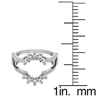 Sterling Silver 1/2ct TDW Round Diamond Sunburst Style Ring Guard (G-H, I2-I3)