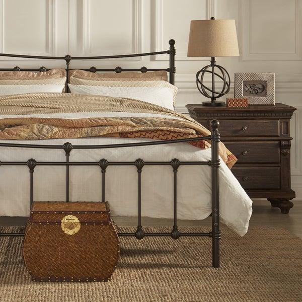 xander dark brown steel metal kingsize bed by inspire q classic