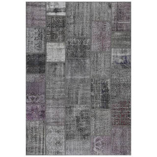 Vintage Patchwork Overdyed Charcoal Wool Rug (6.8' x 9.10')