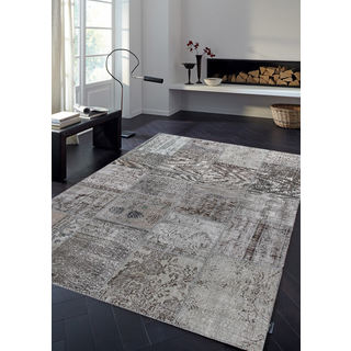 Vintage Patchwork Overdyed Gray Wool Rug (6.8' x 9.11')