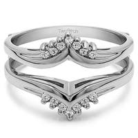TwoBirch Sterling Silver 1/4ct TDW Diamond Traditional Style Chevron Style Ring Guard