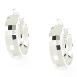 Handcrafted .925 Sterling Silver 6 mm Wide Diamond Cut Hoop Earrings (Thailand)