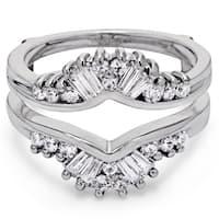 TwoBirch Platinum 3/4 ct TDW Diamond Fancy Style Chevron Jacket Ring