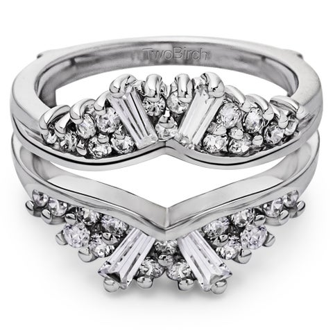 TwoBirch 10k Gold 3/4 ct TDW Diamond Chevron Fan Style Ring Guard (G-H, I1-I2)