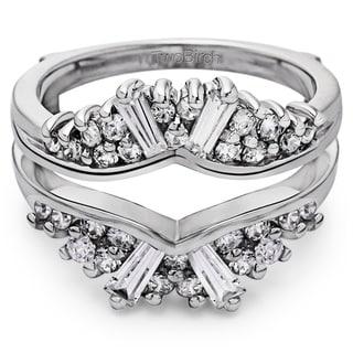 TwoBirch Platinum 3/4 ct TDW Diamond Chevron Fan Style Ring Guard (G-H, SI2-I1)
