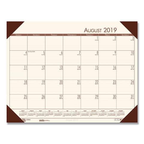House of Doolittle Recycled EcoTones Academic Desk Pad Calendar, 18.5x13, Brown Corners, 2019-2020