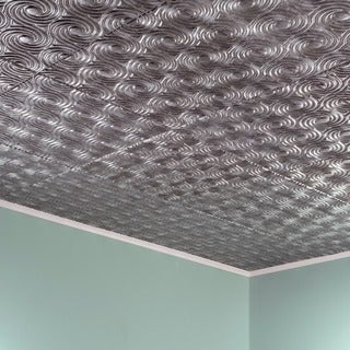 Fasade Cyclone Crosshatch Silver 2 ft. x 2 ft. Glue-up Ceiling Tile