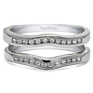 TwoBirch Sterling Silver 1/2ct TDW Diamond Classic Curved Style Ring Guard (More options available)