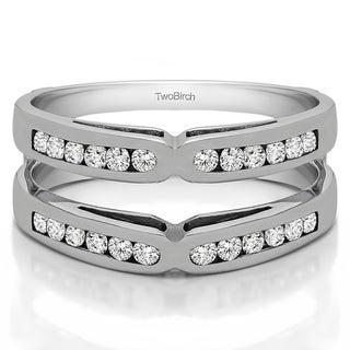 TwoBirch Sterling Silver 1/2ct TDW Diamond Classic Style X-design Ring Guard