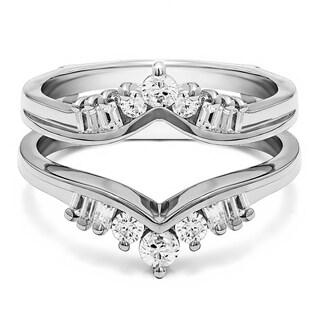Platinum 1/2ct TDW Diamond Traditional Style Chevron Ring Guard Enhancer (G-H, SI2-I1)
