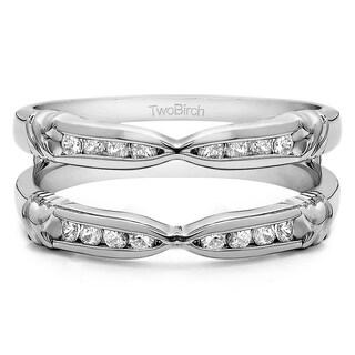 Platinum 1/4 ct TDW Diamodn Traditional 'XO' Style Ring Guard Enhancer (G-H, SI2-I1)