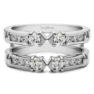 TwoBirch 14k Gold 1/2ct TDW Diamond Embellished 3-stone Ring Guard Enhancer|https://ak1.ostkcdn.com/images/products/10376485/P17482368.jpg?_ostk_perf_=percv&impolicy=medium