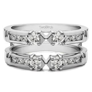 TwoBirch 14k Gold 1/2ct TDW Diamond Embellished 3-stone Ring Guard Enhancer|https://ak1.ostkcdn.com/images/products/10376485/P17482368.jpg?impolicy=medium