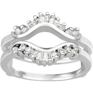 TwoBirch Platinum 1 2ct TDW Diamond Traditional Contour Style Jacket Ring Guard