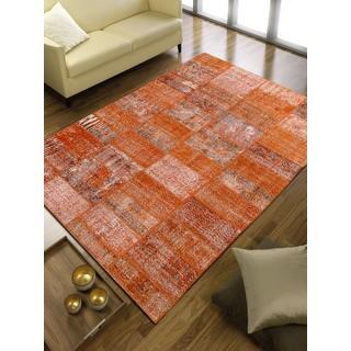 Vintage Patchwork Overdyed Orange Wool Rug (6.8' x 9.11')